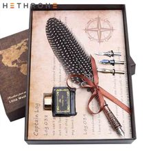 цена на Hethrone Wave point ink Calligraphy Fountain Pen Vintage feather Pattern gift pen Dip Water pen for english Writing metal Pen