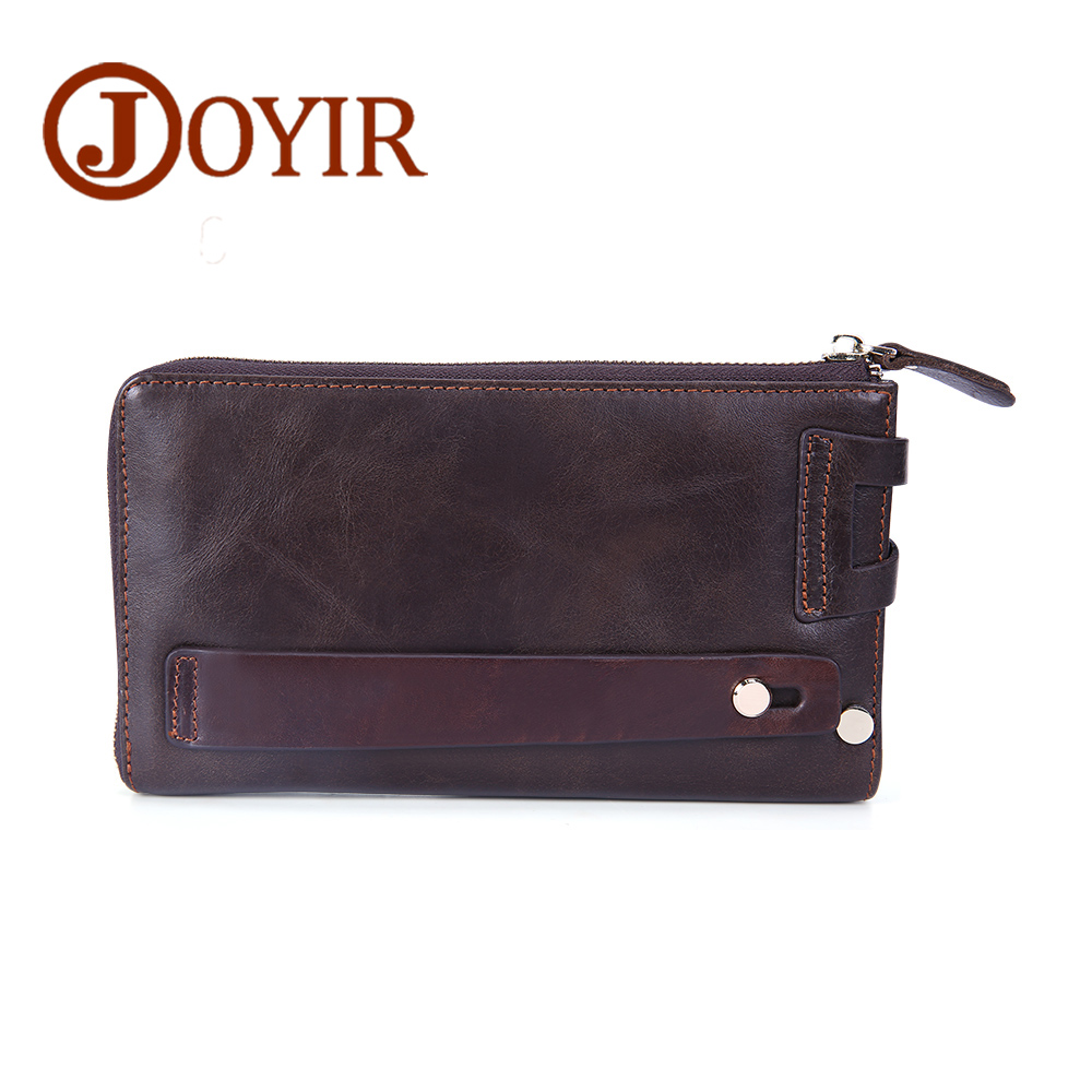 цена на JOYIR Men Clutch Bag Vintage Zipper Men Wallets Genuine Leather Wallets Coin Purse Money Wallet Men Purse Card Holder