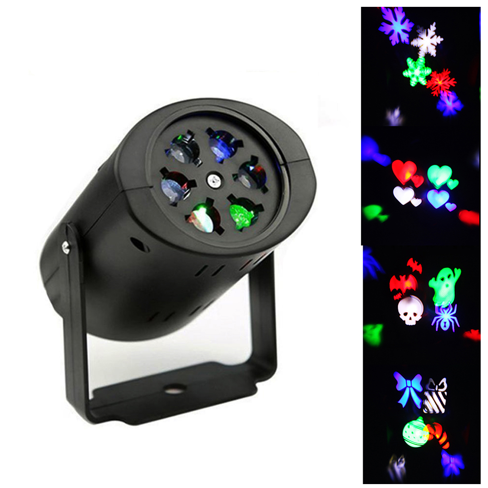 3W 4 Patterns Christmas Laser Projector Snowflake/Heart RGB LED Stage Light for Holiday Xmas Party Halloween Decoration Lights christmas heart snowflake halloween spider bowknot projector lights led stage lamps