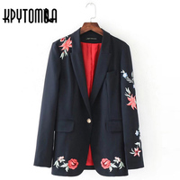 Vintage Ethnic Rose Floral Embroidery Office Blazers Women Coat 2017 New Fashion Autumn Blazer Feminino Suit