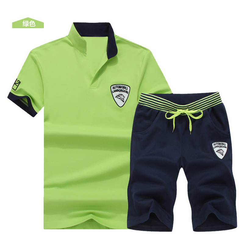 Two Piece Set Men Short Sleeve T Shirt Cropped Top+Shorts Men's Tracksuits 2019  New Causal Sportswear Tops Short Trousers 5