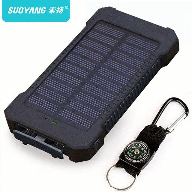 Солнечный Мощность банк Водонепроницаемый 30000 mAh солнечное Зарядное устройство 2 Порты usb внешний Зарядное устройство Мощность Bank Для Xiaomi смартфон с светодиодный свет