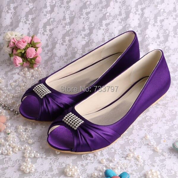 (20 Colors) Wholesale & Retail Classic Purple Open Toe Flat Satin Shoes Womens Wedding Flats