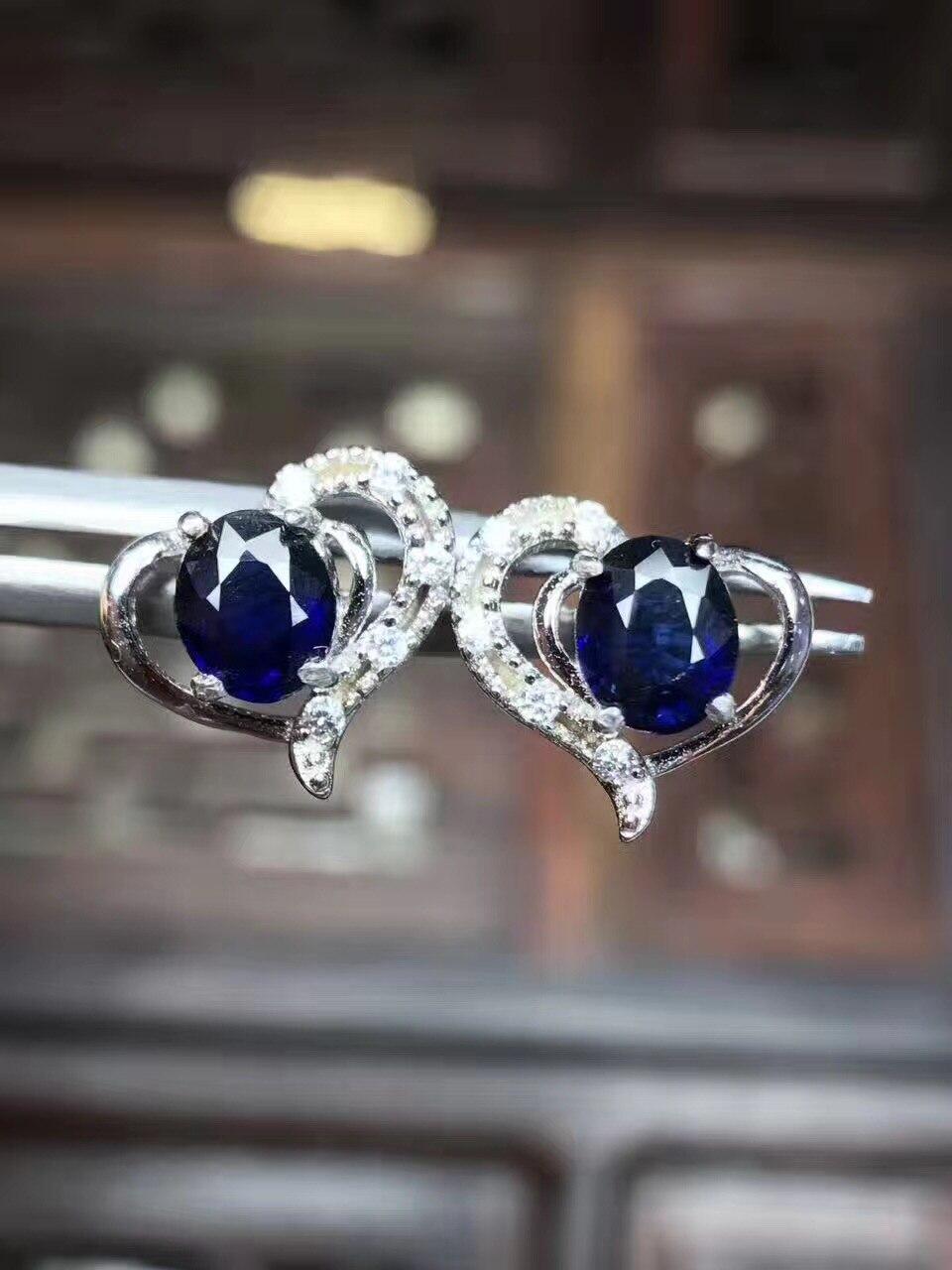 Sapphire stud oorbel Voor mannen of vrouwen Natuurlijke echte saffier 925 sterling zilver 4*5mm 2 stks edelsteen - 6