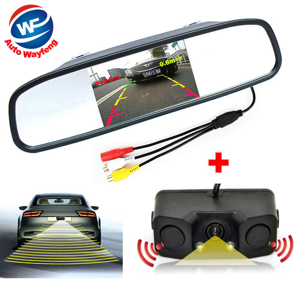 3in1 Video Parking Assistance Sensor Backup Radar With Rear View Camera + 4.3 inch LCD Car Rearview Mirror Monitor Video Parking 3 in 1 monitor parking camera video system 7 inch rear view mirror monitor with back up mini camera with 4 sensor radar parking