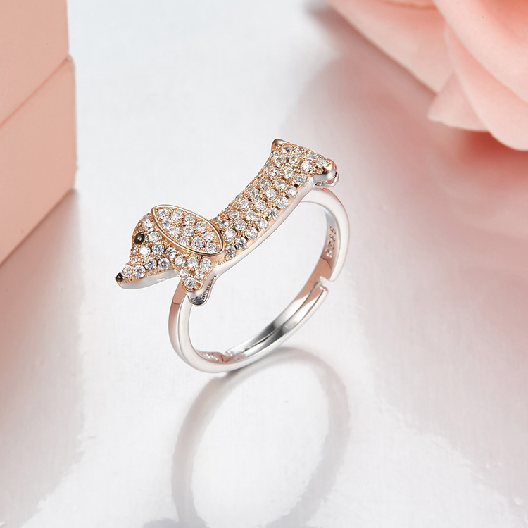 925 sterling silver Dachshund Puppy S925 Open rings For women Cute Fancy Dog pet Jewelry rings anillos plata 925 para mujer Ювелирное изделие
