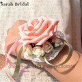 Новый искусственный розовые розы свадебные букеты украшения элегантный невесты букеты букет мантия-де-mariage Casamento WF040