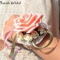 Nueva Artificial Pink rosas ramos De novia decoración De la boda De dama De honor elegante ramo ramos De Mariage Casamento WF040
