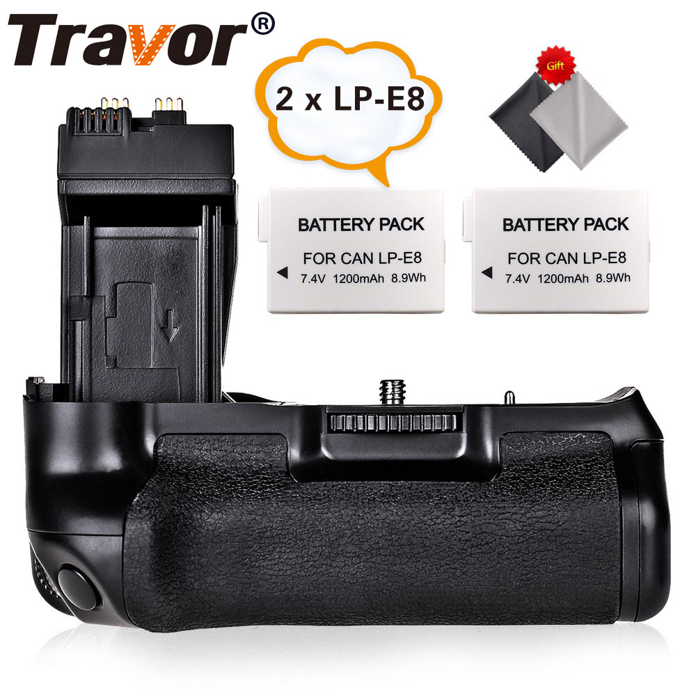купить Travor Battery Grip Holder for Canon 550D 600D 650D 700D Rebel T2i T3i T4i T5i as BG-E8+2pcs LP-E8 battery+2pcs lens cloth по цене 2515.23 рублей