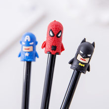 Cute Anime Gel Pen America Super Heroes Batman Spider Cool Kawai Cartoon School Office Supply Material Stationery Store Thing(China)