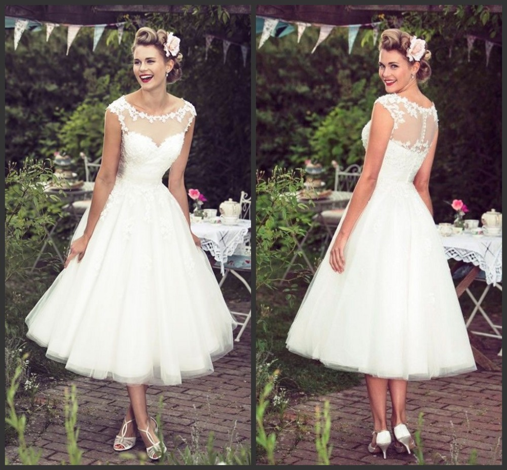 Short Tea Length Tulle Bridal Wedding Dresses 2017 Sheer