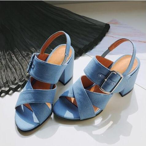 цены  Hot Selling Denim Blue Ankle Strap Buckle High Heel Sandals Cut-out Thick Heel Gladiator Sandals For Women Summer Dress Shoes