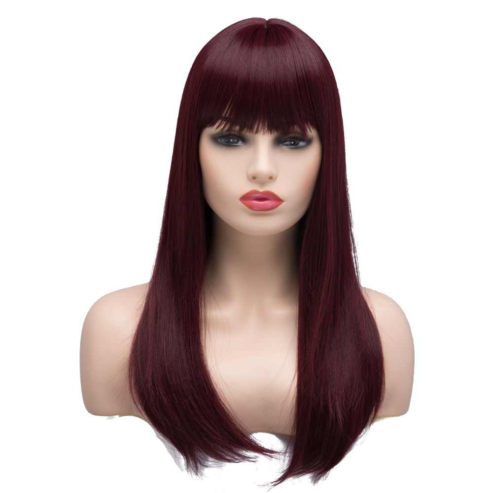 BESTUNG Long Straight Synthetic Burgundy Wine Red Ombre Wigs for Women