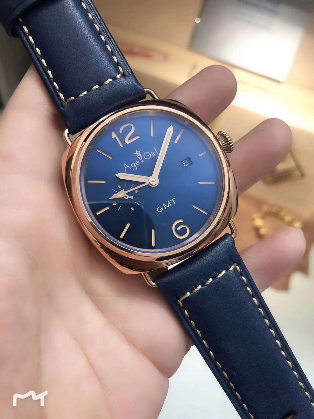 Brand New Men Automatic Mechanical Stainless Steel Blue Leather Rose Gold Sport Dive GMT Watches Limited 44mm AAA+Brand New Men Automatic Mechanical Stainless Steel Blue Leather Rose Gold Sport Dive GMT Watches Limited 44mm AAA+