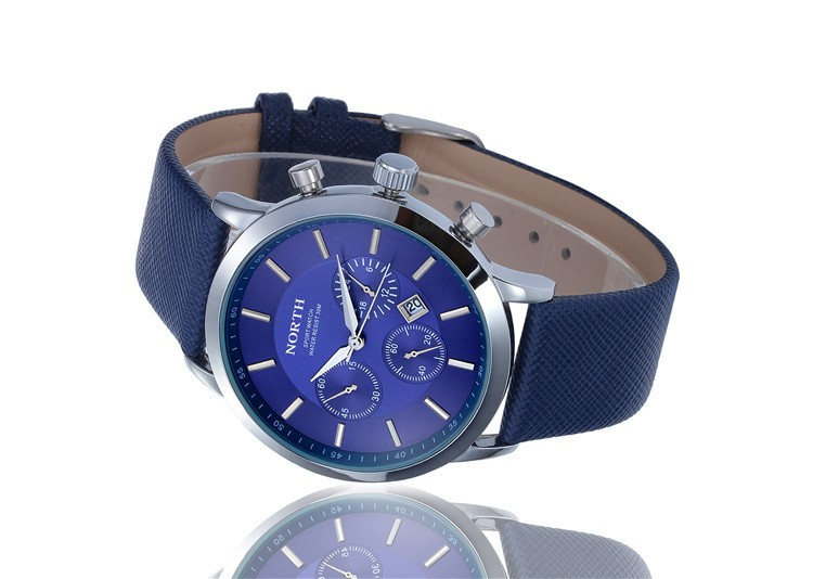 North Quartz Watch Blue Dial Sport Leather Strap