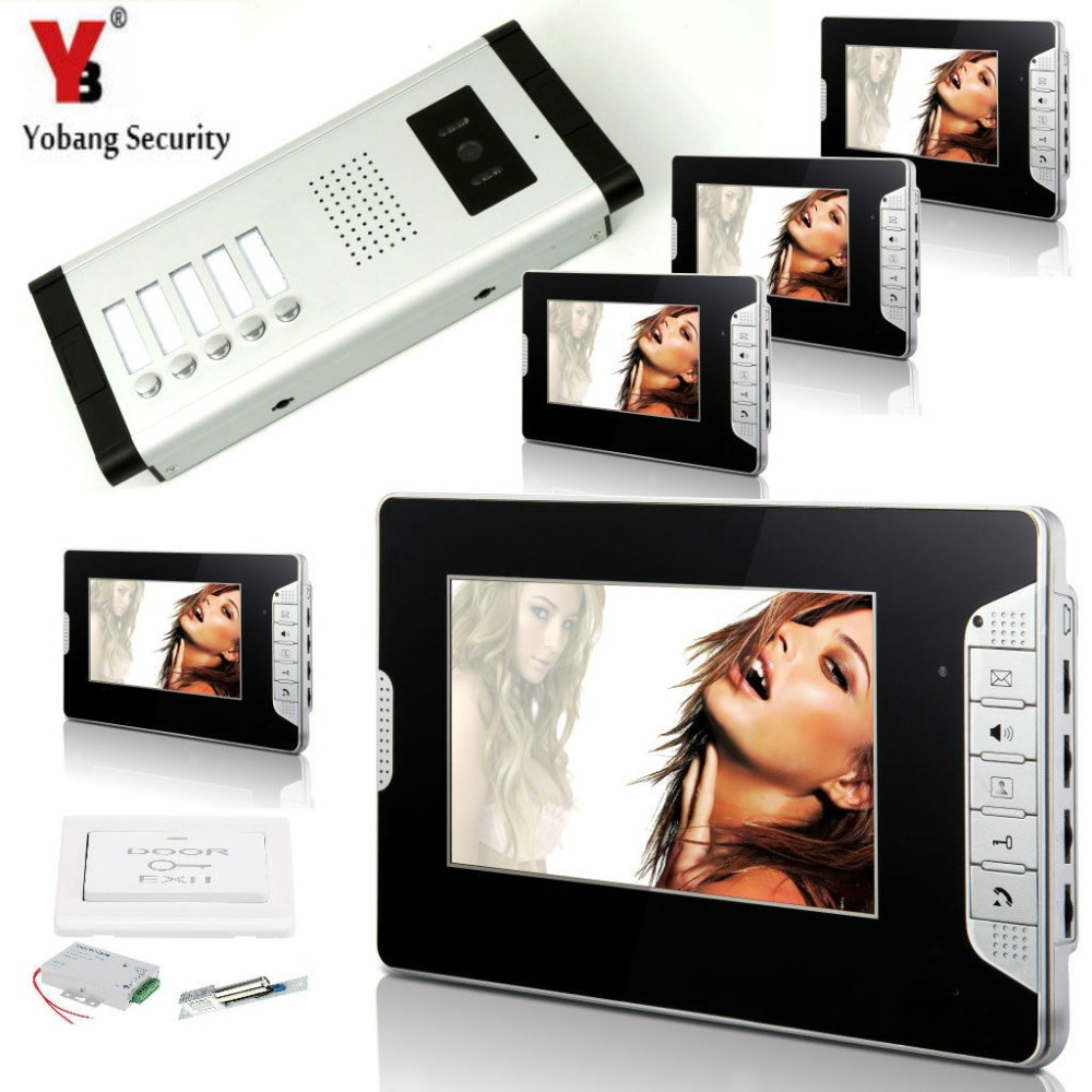 YobangSecurity 5 Units Apartment Intercom Wired 7 Video Door Phone Video Door Entry System Intercom Doorbell With Door Lock 7v7 take photos color video door phone intercom doorbell system for seven units apartment electronic control lock