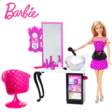 Barbie  Shops With Doll Asst House Furniture Miniatures Dollhouse Kit Cute Room Baby Girl Toys Poppenhuis Casa de Boneca CLG06
