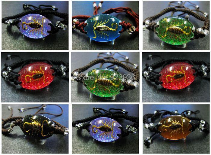free shipping wholesale 18pcs fashion insect real golden scorpion king magic mix handmade bracelet NY09