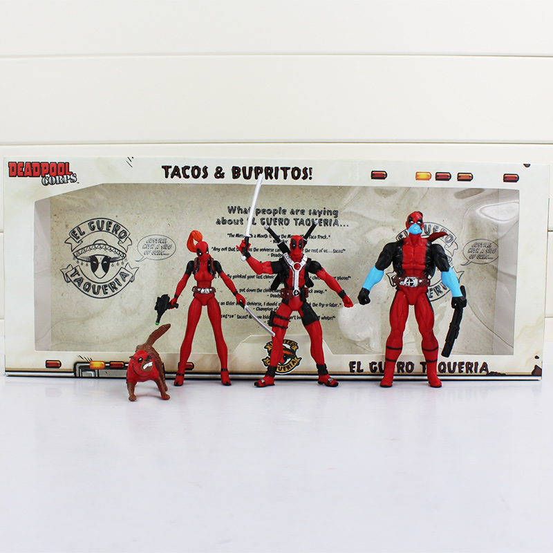 4pcs/lot X-Men Deadpool Figure Deadpool Wade Winston Wilson with Weapons PVC Model Dolls with Retail Box or OPP Bag