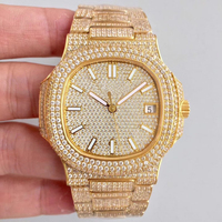Luxury Brand New Automatic Mechanical Men Watch Sapphire Full Iced Diamonds Transparent Silver Rose Gold Yellow Gold Sport AAA+