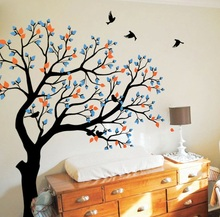 Large TreeWall Poster Nursery Kids Bedroom Art Decor Wall Sticker Huge Tree With Flying Birds Vinyl Removable Decals Y-957
