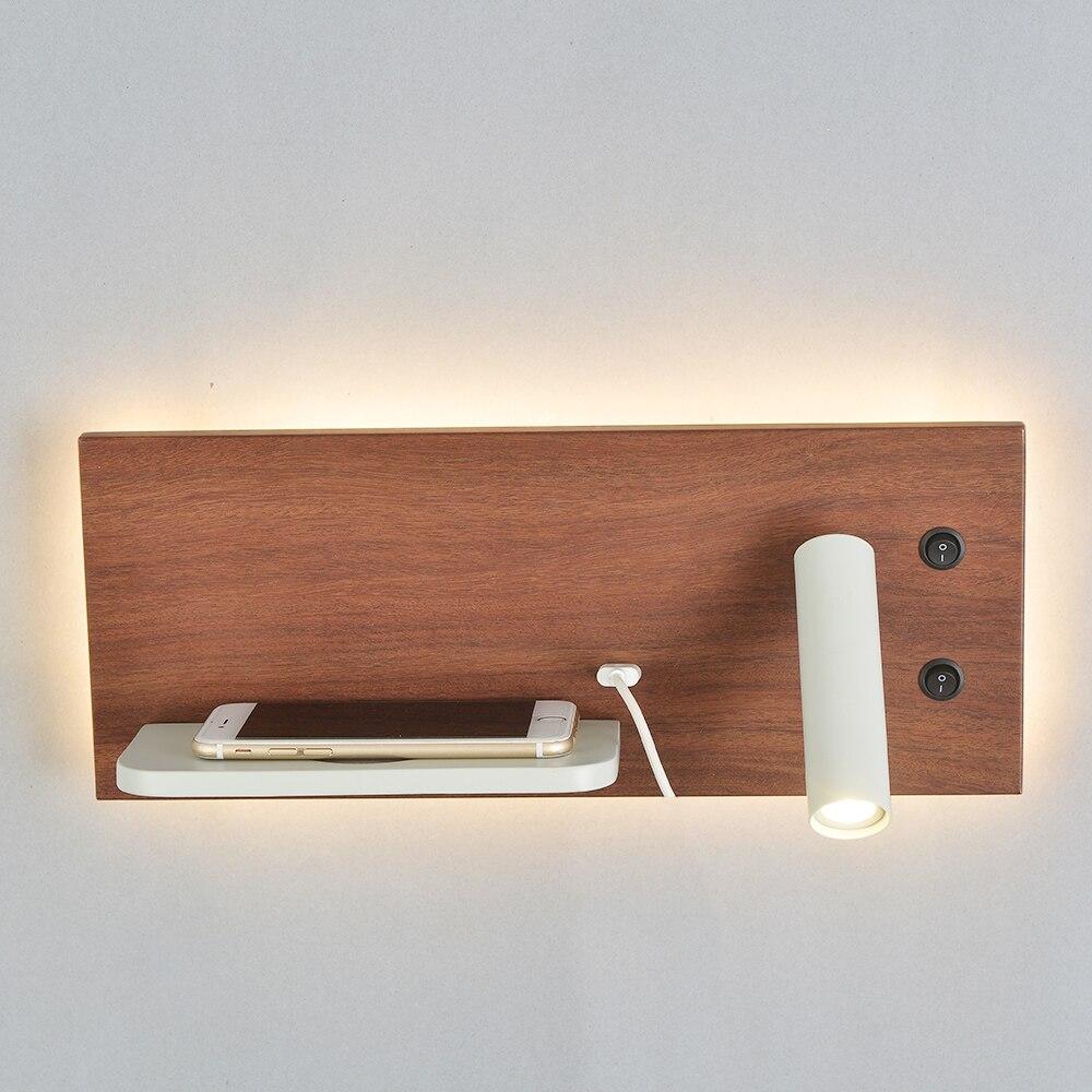 Золотой настенный светильник, современный Лофт, для ежедневного использования, светодиодный светильник, лампа через 5 В, USB порт, 9 В, 1A, беспр... - 6