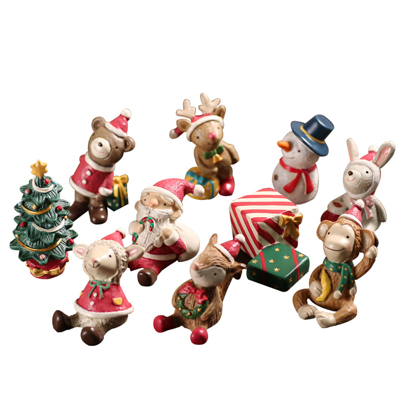 Christmas Miniatures.Us 4 13 30 Off Resin Christmas Miniature Ornament Delicate Animal Xmas Artware Cute Snowman Figure Small Gift Home Decoration 1 Piece In Figurines