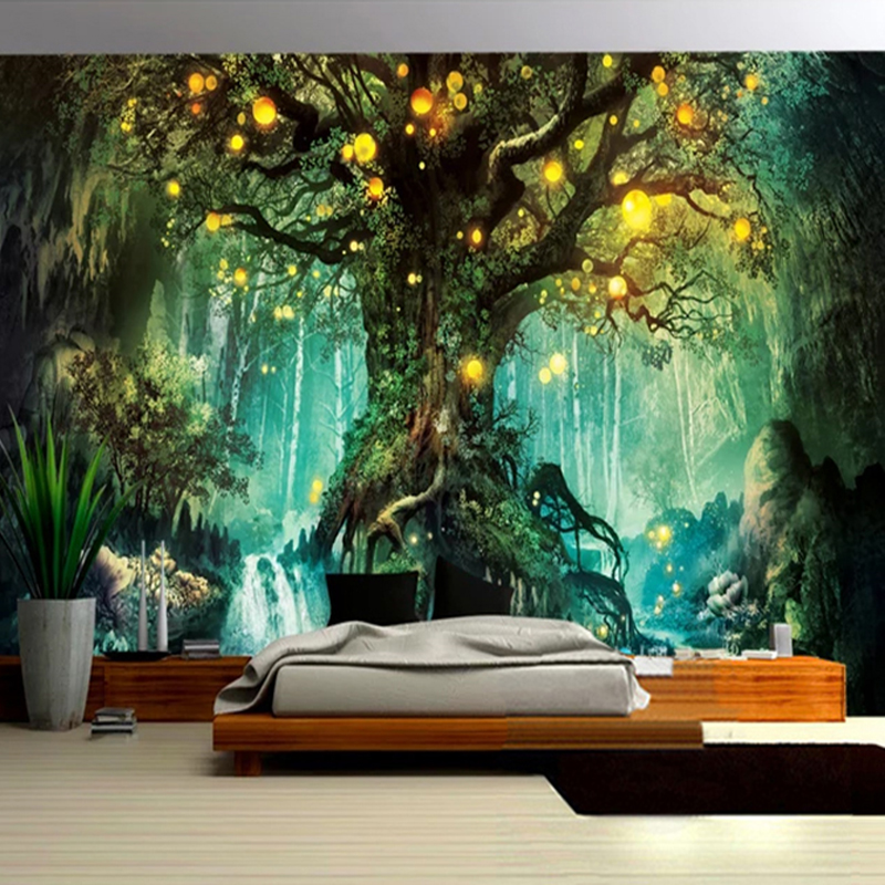 Photo Wallpaper 3D Romantic Fantasy Forest Tree Hand Painted Murals Living Room TV Sofa Kids Bedroom