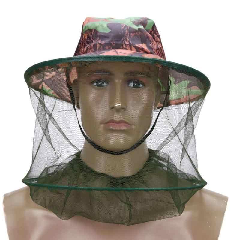 Mosquito Net Memancing Topi Lebah Outdoor Kamuflase Kelambu Memancing Topi Lebah Serangga Pencegahan Cap Penutup Kepala