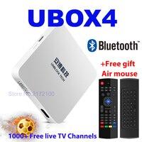 Unblock UBOX4 UBOX 4 BLACK UPRO OS Android Free IPTV BOX Smart TV Box Bluetooth HD 4K 1000 Free Live TV Channels PK UBOX 4