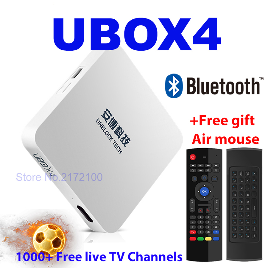 Unblock UBOX4 UBOX 4 BLACK UPRO OS Android Free IPTV BOX Smart TV Box Bluetooth HD 4K 1000 Free Live TV Channels PK UBOX 4