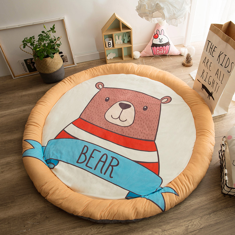 Mother & Kids Childrens Cute Cartoon Cotton Crawling Mat Game Mat Round Carpet Childrens Room Decorations Baby Development Activity Cusion