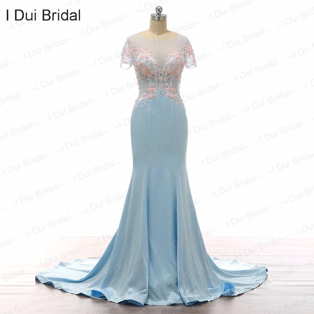 Light Blue Wedding Dresses Detachable Ruffle Train Short Sleeve ...