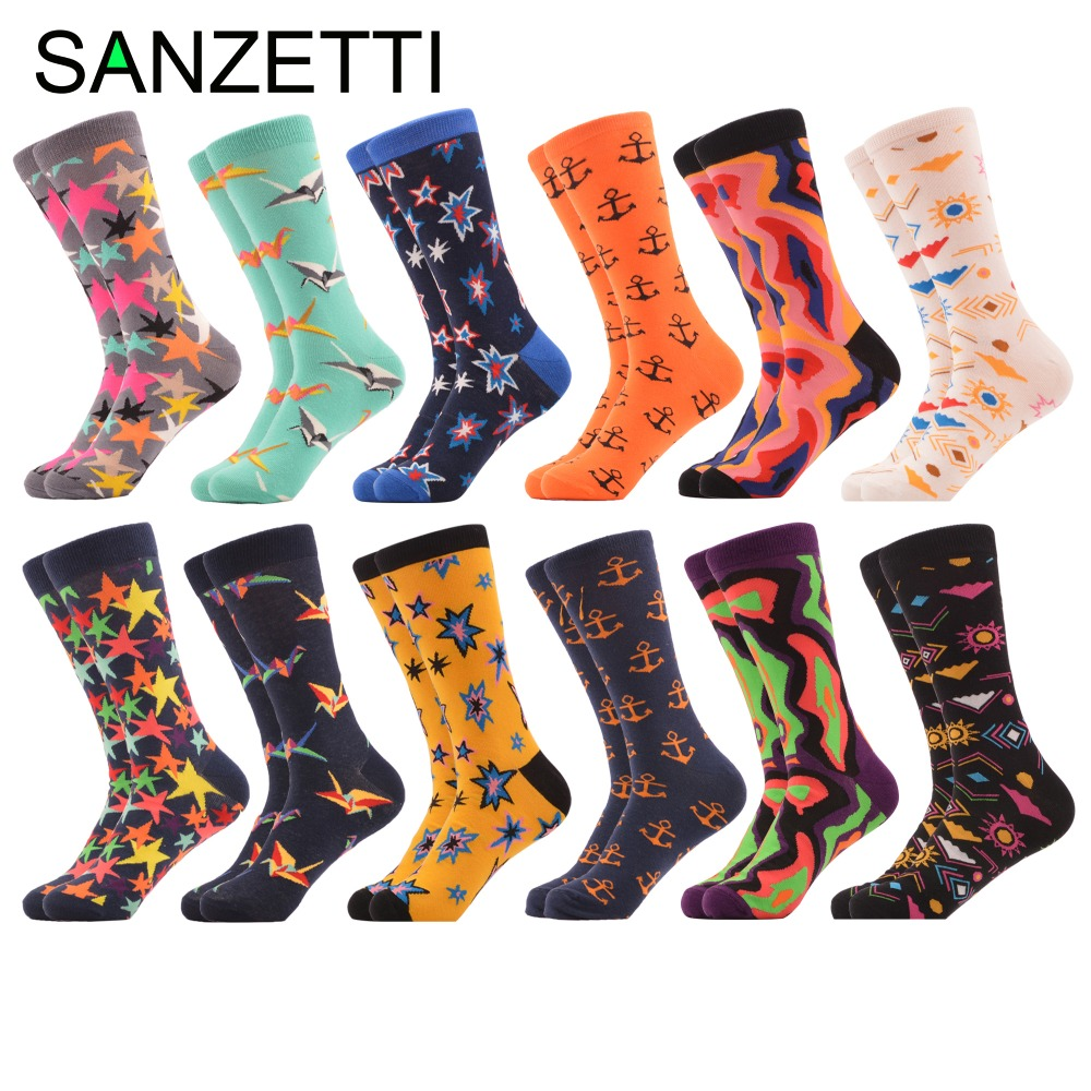 SANZETTI 12 pairs/lot Novelty Mens Colorful Star Crane Combed Cotton Dress Wedding Socks Happy Funny Casual Crew Party Socks