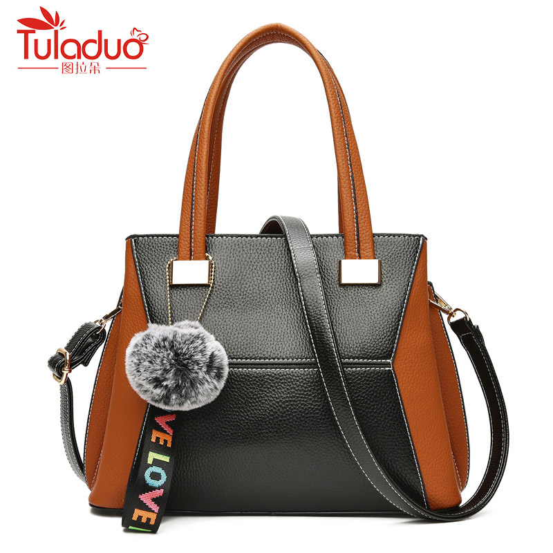 Patchwork Women Bag Quality Pu Leather Bags Handbags Famous Brands Designer Handbag Female Shoulder Bag Hairball Tote Sac A Main chispaulo women genuine leather handbags cowhide patent famous brands designer handbags high quality tote bag bolsa tassel c165