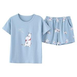 Image 2 - JRMISSLI Leuke vrouwen Pyjama Sets Print 2 stuks Set Crop Top + Shorts vrouwen pyjama katoen Plus Size pyjama pak Voor Vrouwen