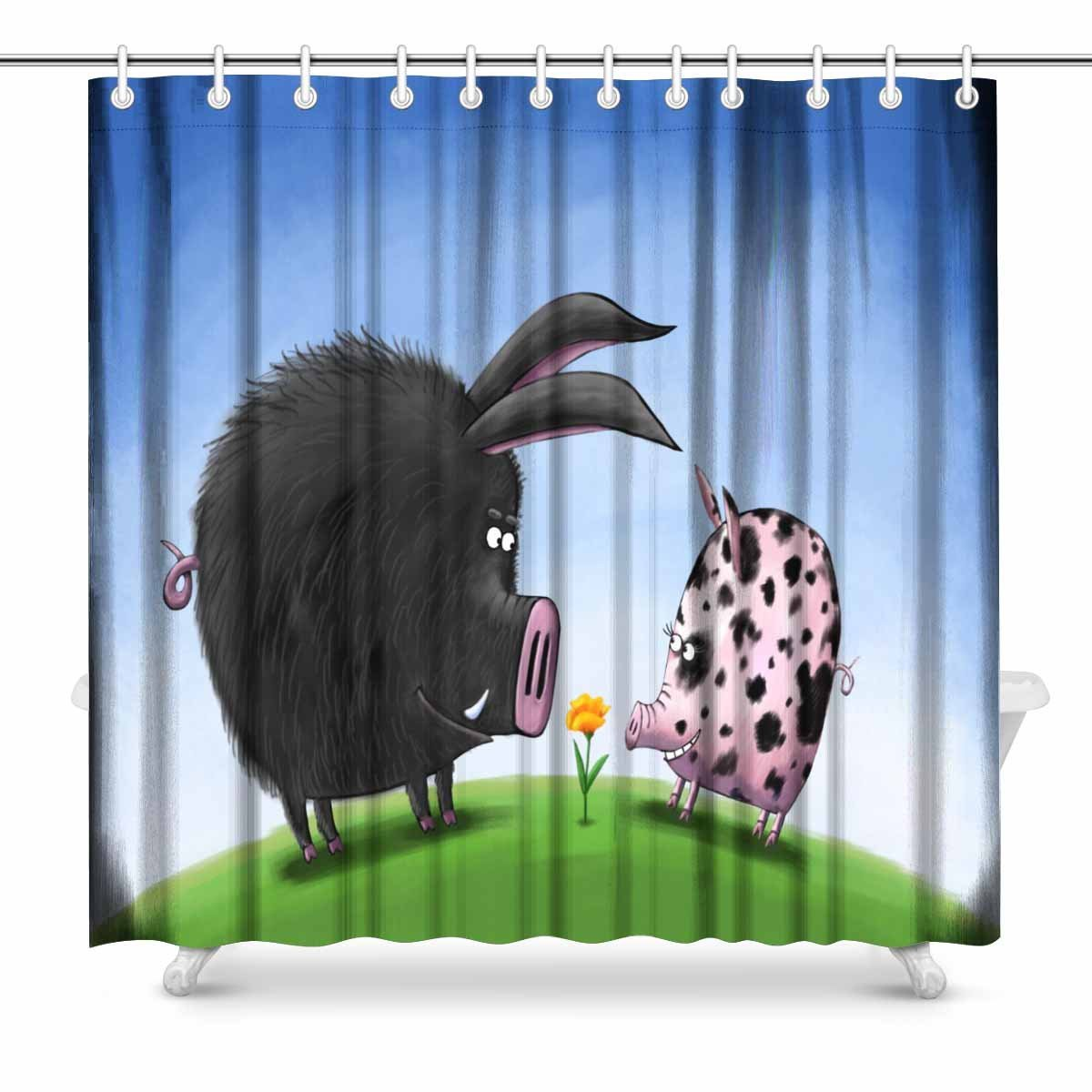 Modest Aplysia Two Pigs Male And Female In Love Looking At A Cute Yellow Flower In The Meadow Bathroom Accessories Shower Curtains Health & Beauty