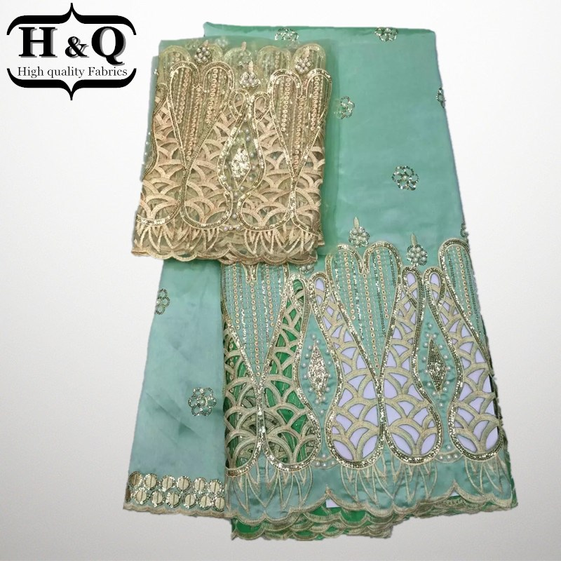 New year Latest popular designs fabric 5 Yards African Lace Fabric high quality indian silk George lace fabric Give 2 yds tulle