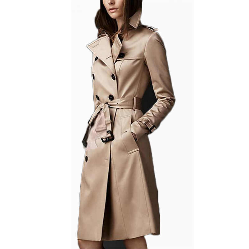 2019 New Women Classic Double Breasted   Trench   Coat Female Autumn Winter Business Khaki Slim Cloak Mujer Windbreaker RH167