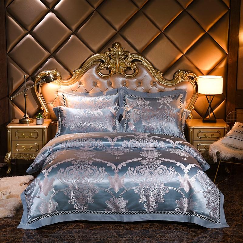 Pościel żakardowa zestaw luksusowe Satin łóżko – zestaw 4 sztuk haftowane kołdra/kapa na kołdrę prześcieradło pościel poszewki na poduszki królowa King Size w Zestawy pościeli od Dom i ogród na  Grupa 1