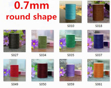 0.7mm round shape waxed thread for leather sewing