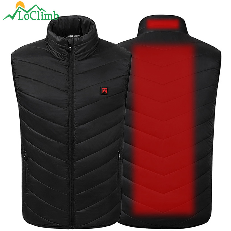 LoClimb USB Heated Vest Men Winter Outdoor Heated Jacket Men's Self Heating Vest Mens Skiing Waistcoat Hiking Heater Vests AM356