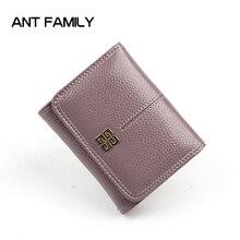 Fashion Women Short Wallet 3 Fold Genuine Leather Female Coi