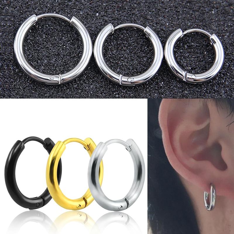 Ring Earring Ear 1Pair Fashion Women Men Steel Stud Solid Alloy Punk Color Tube