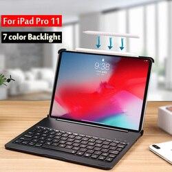 Для iPad Pro 11 2018 чехол A1934 A1980 A2013 7 цветов подсветки светильник Беспроводной Bluetooth клавиатура чехол Чехол