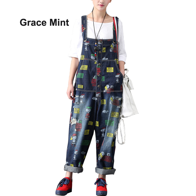 Pattern Painted Ripped Denim Jumpsuits Women Loose Wide Leg   Jeans   Overalls