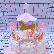 CRLEY Happy Birthday Sweet Love Cake Topper Carousel Decorative Dessert Stand Wedding Decoration Event Home Party Supplies