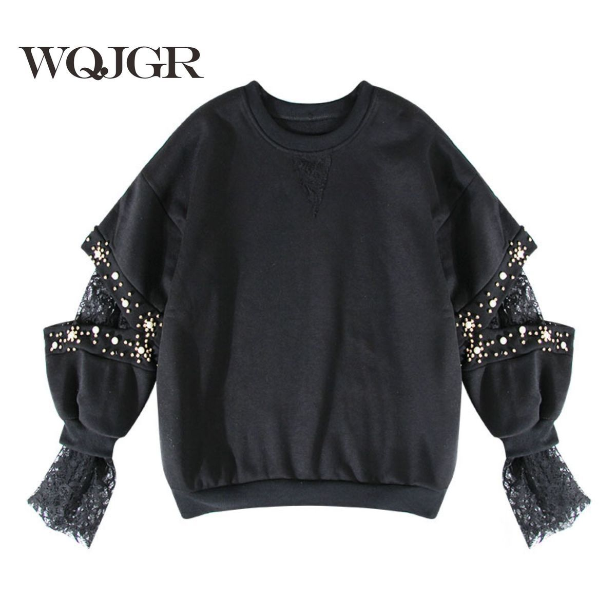 WQJGR 2020 Autumn Pullovers Women Hoodies Nail Pearl Hollow Out Embroidery Split Joint Lace Cuff Head