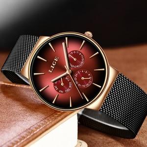 Image 5 - 2019 LIGE Casual Dünne Mesh Gürtel Mode Quarz Gold Uhr Herren Uhren Top Brand Luxus Sport Wasserdichte Uhr Relogio Masculino