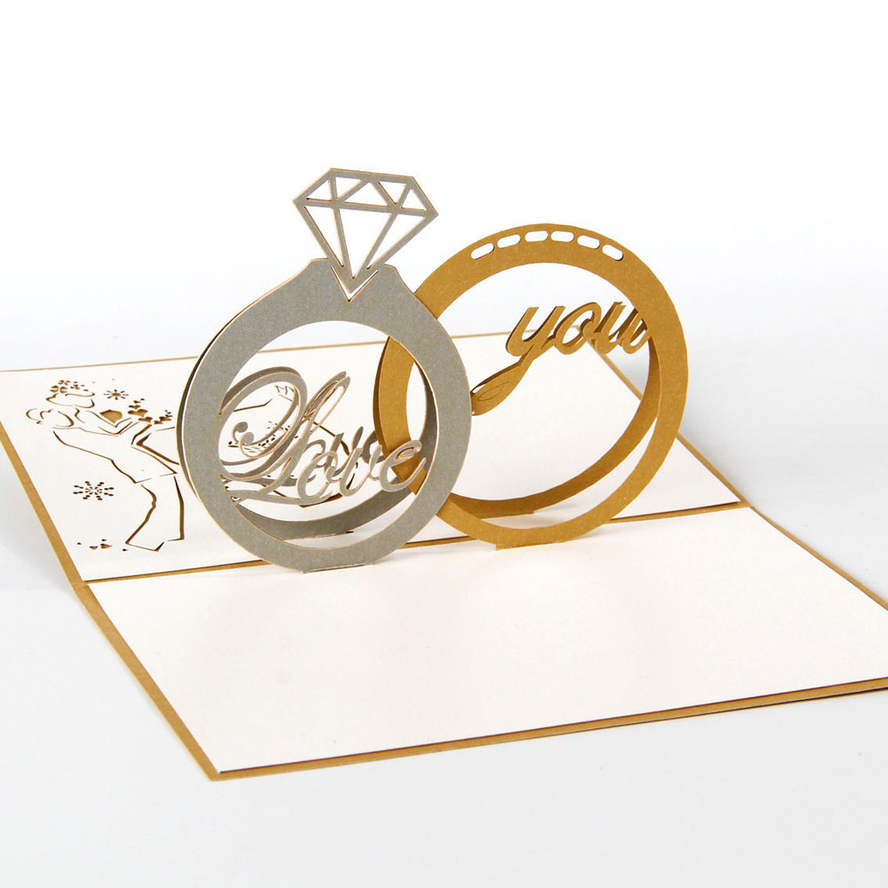 5pcs/lot Exquisite Diamond Ring Design Wedding Invitations 3d Pop Up ...